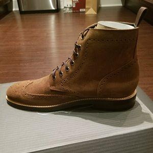 Brand New Cognac Suede Wingtip Boot